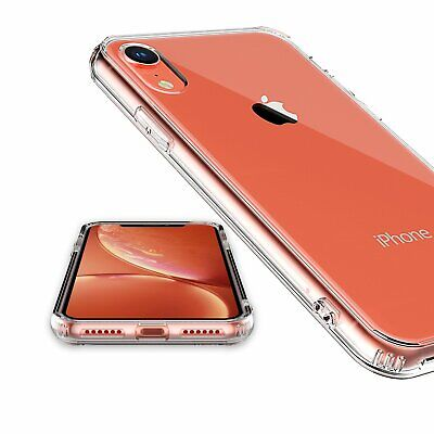 For iPhone XR Clear Transparent Case Shock Absorption TPU Bumpers and Hard Back