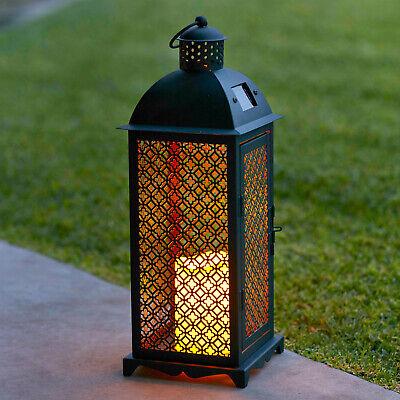 Moroccan Solar Powered LED Garden Outdoor Flameless Candle Lantern - Powered Candle Lantern