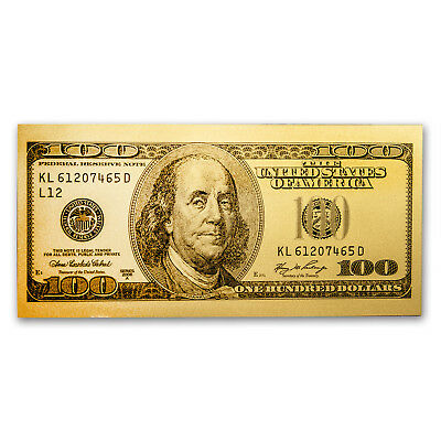 1 gram Gold Note - $100 Replica (Benjamin Franklin Design, 24K) - SKU - Franklin Design