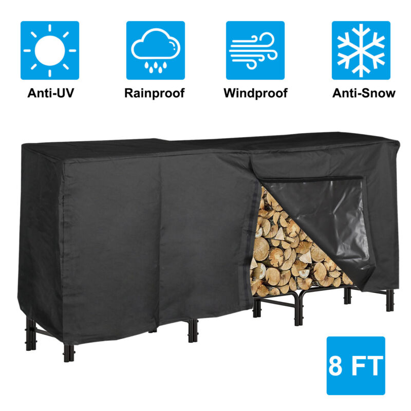 Firewood Log Rack Cover,8Ft Heavy Duty and Waterproof Oxford Firewood Rack Cover