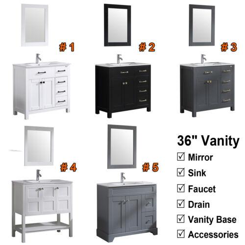 "36"" Bathroom Vanity Cabinet Undermount Ceramic Sink Shaker Vanity Free Standing"
