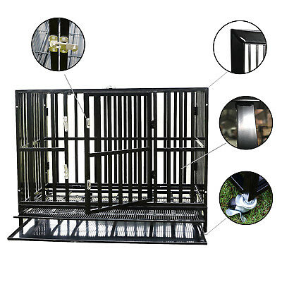 """37"""" Square Tube Metal Crate Heavy Duty Dog Cage Pet Kennel Playpen Wheels & Tray"""