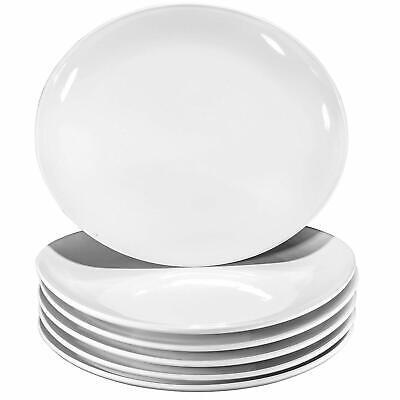 Bruntmor Pro-Grade Curved Ceramic Restaurant Dinner Plates Set of 6 White 11 In Ceramic Dinner Plates Set