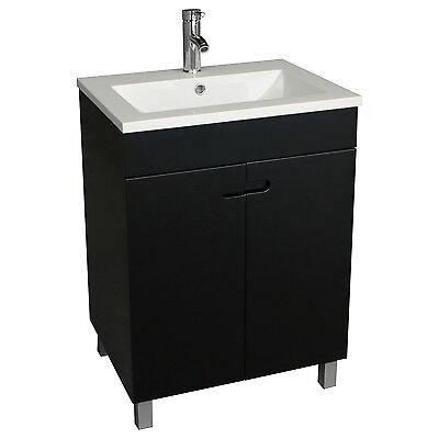 2Black Bathroom Vanity Cabinet Undermount Square Sink  Faucet Pop Drain Morden