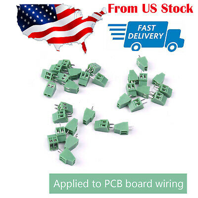 30x Terminal Block Connector Screw Type Pcb Mount 2 Pin 2.54mm 250v 8a Pitch