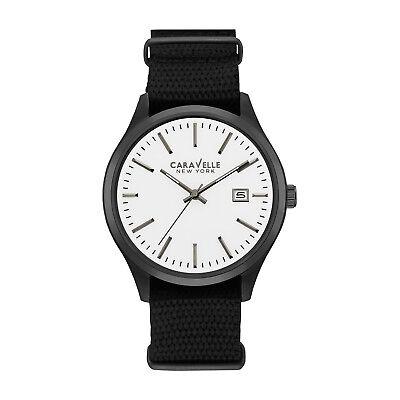 Caravelle New York Men's 45B142 Quartz White Analog Dial Black Nylon 41mm Watch