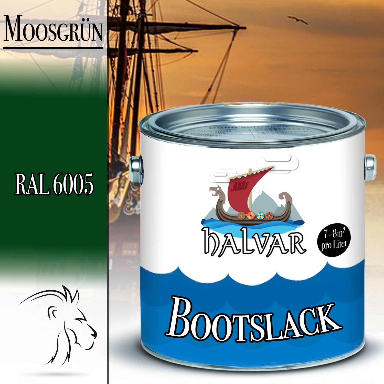 Halvar PU Bootslack Bootsfarbe Yachtlack Metall GFK Holz FARBAUSWAHL Klarlack Moosgrün (RAL 6005)