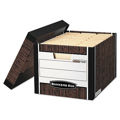 Bankers Box R-kive Max Storage Box Letterlegal Locking Lid Woodgrain 4carton