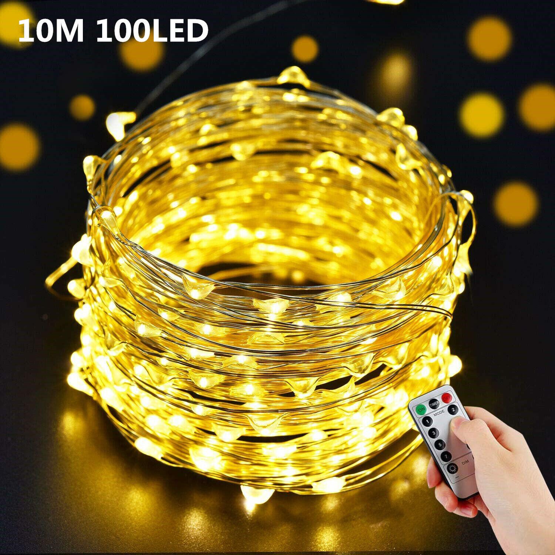 10M 100 LED Lichterkette Draht Außenbeleuchtung mit Fernbedienung Timer Batterie