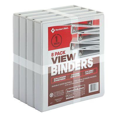 """Members Mark 8 pk 3 Ring 225 Sheet Capacity View Binder 1"""" Round Locking Rings"""