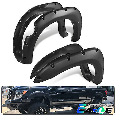 For 2004-2014 Nissan Titan Smooth Black Rivet Fender Flares Bedside w/o Lockbox ()