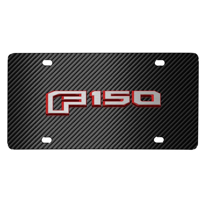 Ford F-150 in Red 2015 up 3D Logo Black Carbon Fiber Patten Steel License Plate