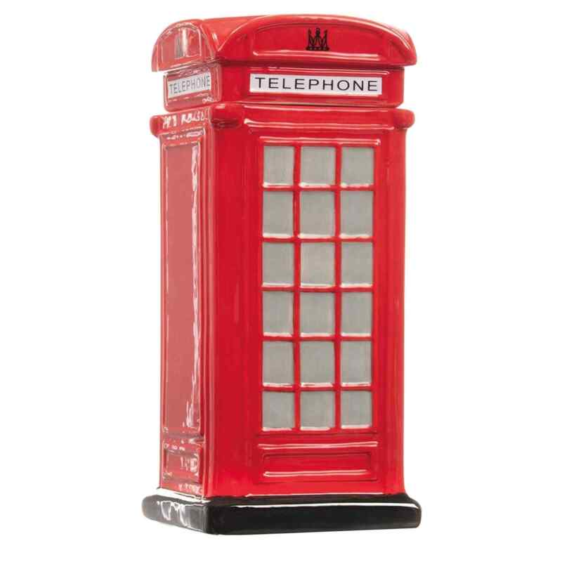 British Telephone Box Cookie Jar - Collectible Red Phone Booth Ceramic Treat Jar