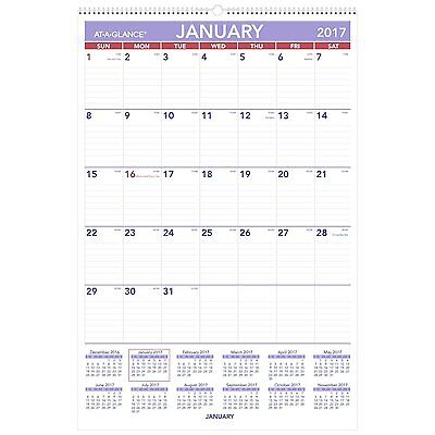 At A Glance Monthly Wall Calendar With Ruled Daily Blocks 20 X 30 White 2018