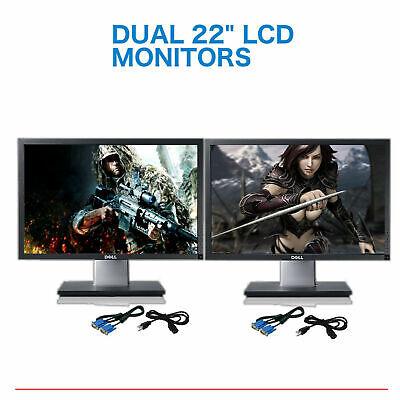 "Matching DUAL DELL Ultrasharp 22"" Widescreen LCD Monitors"