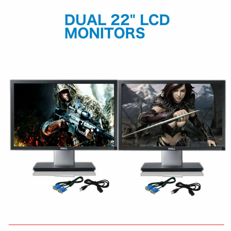 "Matching DUAL DELL Ultrasharp 22"" Widescreen LCD Monitors w /DUAL LCD Stand"