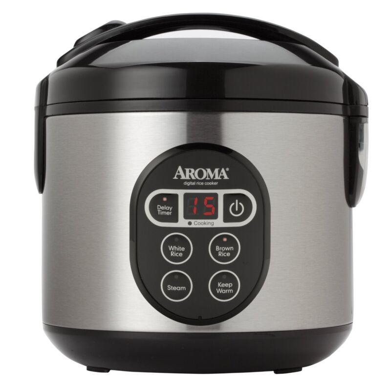 Aroma Digital Rice Cooker and Food Steamer, 4-Cup Uncooked, 8-Cup Cooked