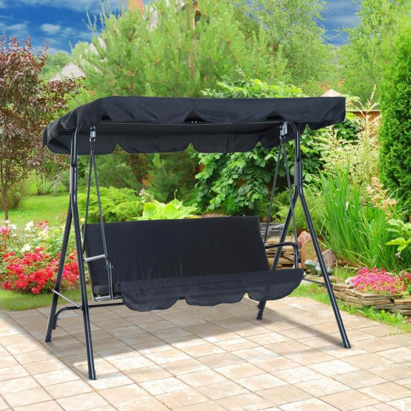 Outsunny Steel Outdoor Porch Swing Lounge Chair 3 Person Black