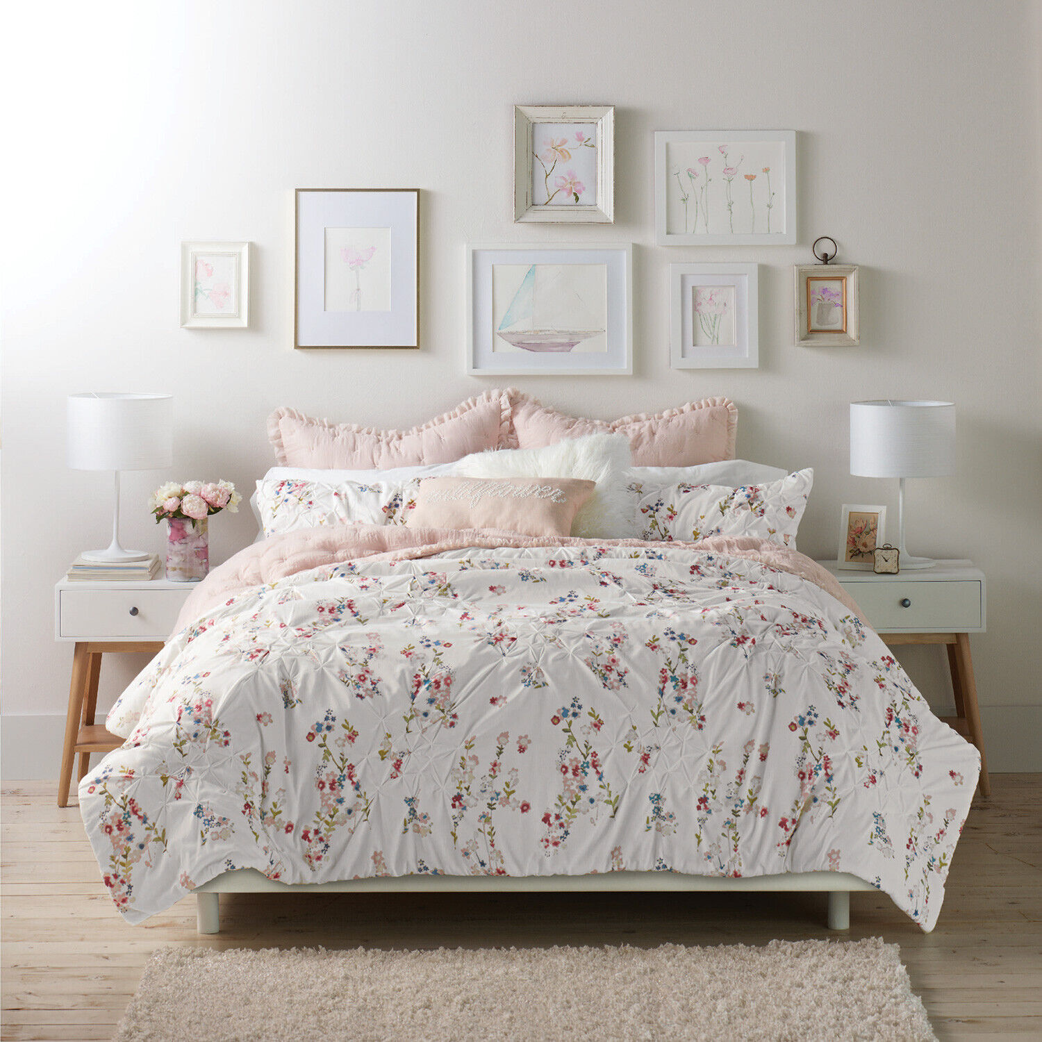 3-Piece King or Full/Queen Oversized Floral Comforter Cotton Bedding Set, Pink Bedding