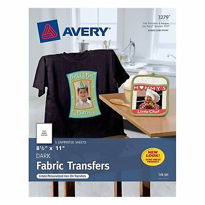 Avery 3279 CUSTOM TRANSFERS DARK Fabric T-shirts InkJet Printable Iron-On 8.5x11