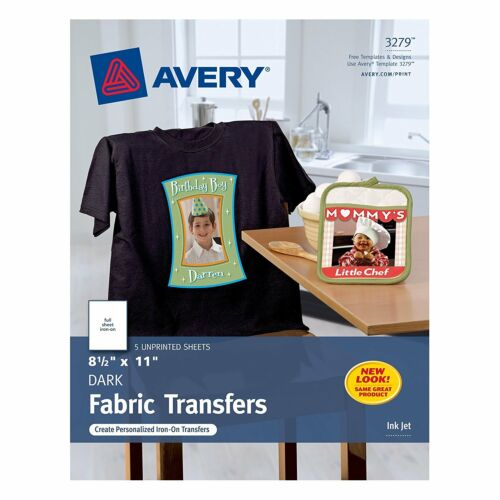 Avery 3279 CUSTOM TRANSFERS DARK Fabric T-shirts InkJet Printable Iron-On 8.5x11