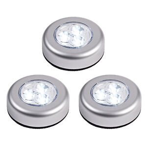 Lot de 3 spots ronds led piles sans fil 6 5cm - Spot tableau sans fil ...