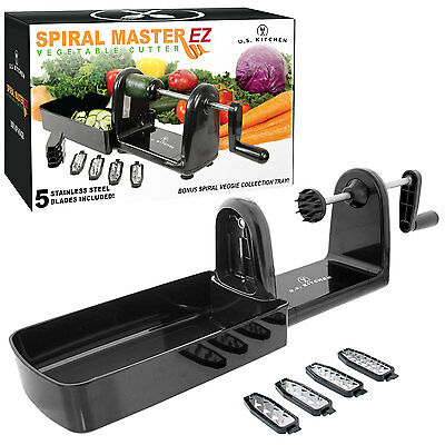 Kitchen Spiral Master EZ Vegetable Cutter, 5 Stainless Steel Slicer Blades Cut
