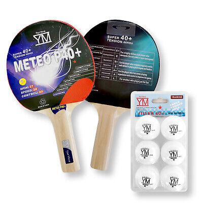 Kit 2 Racchette + 6 Palline Professionali 40 mm 1 star Per Tavolo Da Ping Pong