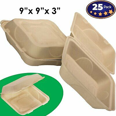 Biodegradable 9x9 Take Out Food Containers With Clamshell Hinged Lid