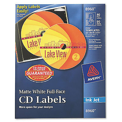 Avery Inkjet Full-Face CD Labels Matte White 40/Pack 8960 Full Face Matte Cd Label