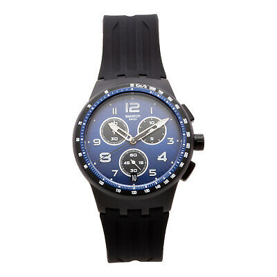 Swatch NITESPEED SUSB402 Chronograph Men's 42mm Blue Dial Black Watch