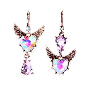 Betsey Johnson Sweetheart Ab Pink Crystal Heart Leverback Dangle Earrings