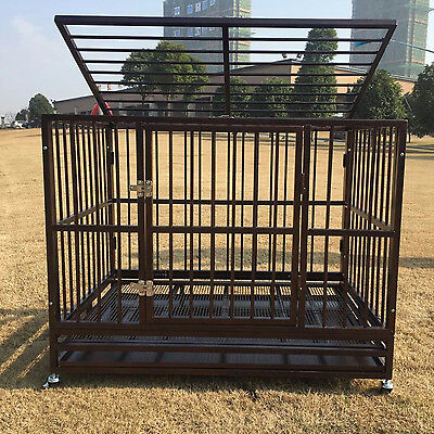 """42"""" Heavy Duty Metal Rolling Dog Cage Crate Kennel Pet House with Tray & Wheels"""