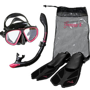 Seavenger-Diving-Set-Pink-Ribbon-Adult-S-M-Dry-Snorkel-Trek-Fin-Glass-Mask-Bag