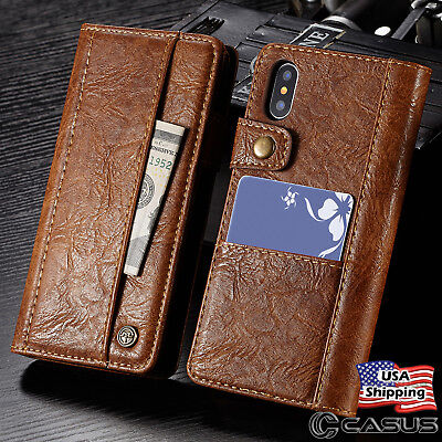 Genuine Leather Wallet Card Holder Flip Stand Case For Iphone X   Iphone 8 Plus