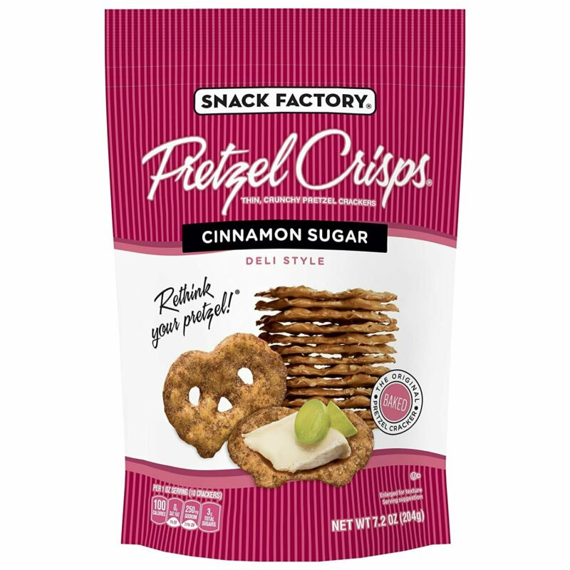 Snack Factory Pretzel Crisps, Cinnamon Sugar, 7.2 Ounce Bag