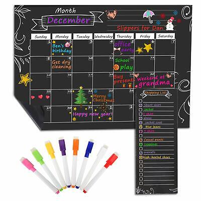Moko Magnetic Dry Erase Monthly Calendar Planner Refrigerator Shopping List New