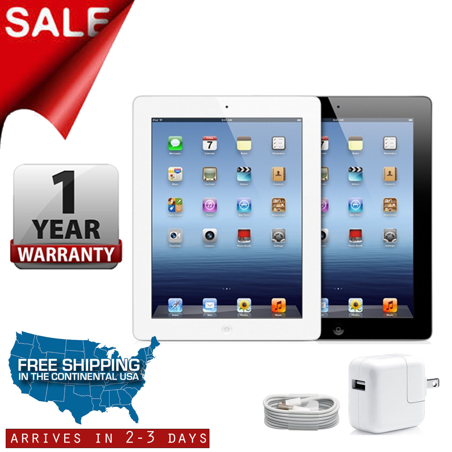 Apple iPad 2 16GB/32GB/64GB Black/White 9.7in Wi-Fi Tablet One-Year Warranty
