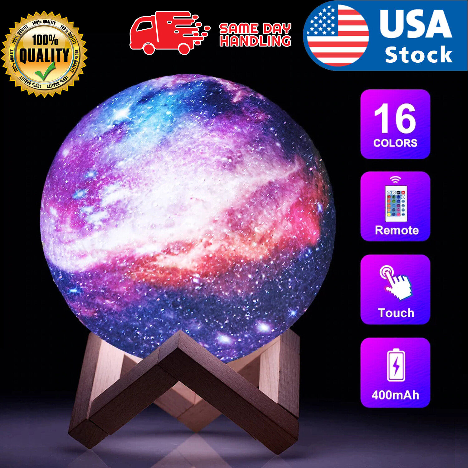 3D Printing Remote Moon Lamp USB LED Night Light Moonlight Touch Color Changing Home & Garden