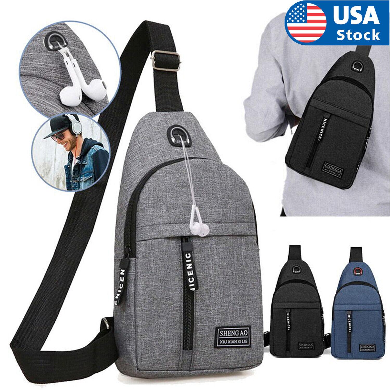 Mens Sling Bag Cross Body Handbag Chest Bag Shoulder Pack Sports Travel Backpack Bags