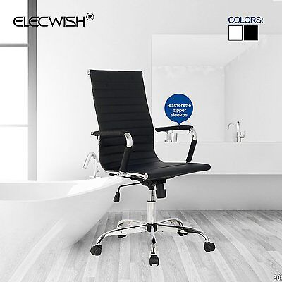Computer Game Chair Office Leather Desk Seat Ribbed High Back Executive Home
