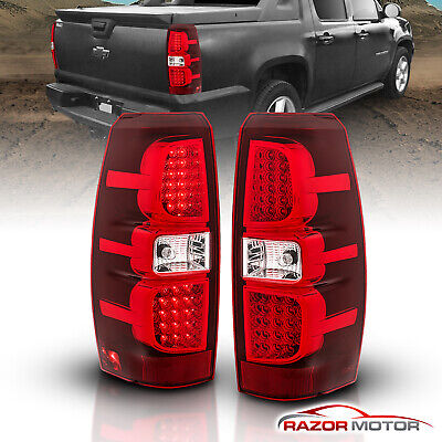 2007-2013 Chevrolet Avalanche Red Clear LED Brake Tail Lights Rear Lamps Pair Avalanche Rear Brake Light