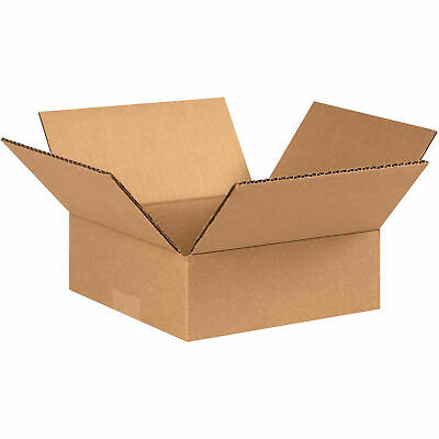 8 X 8 X 3 Flat Cardboard Corrugated Boxes 65 Lbs Capacity Ect-32 Lot Of 25