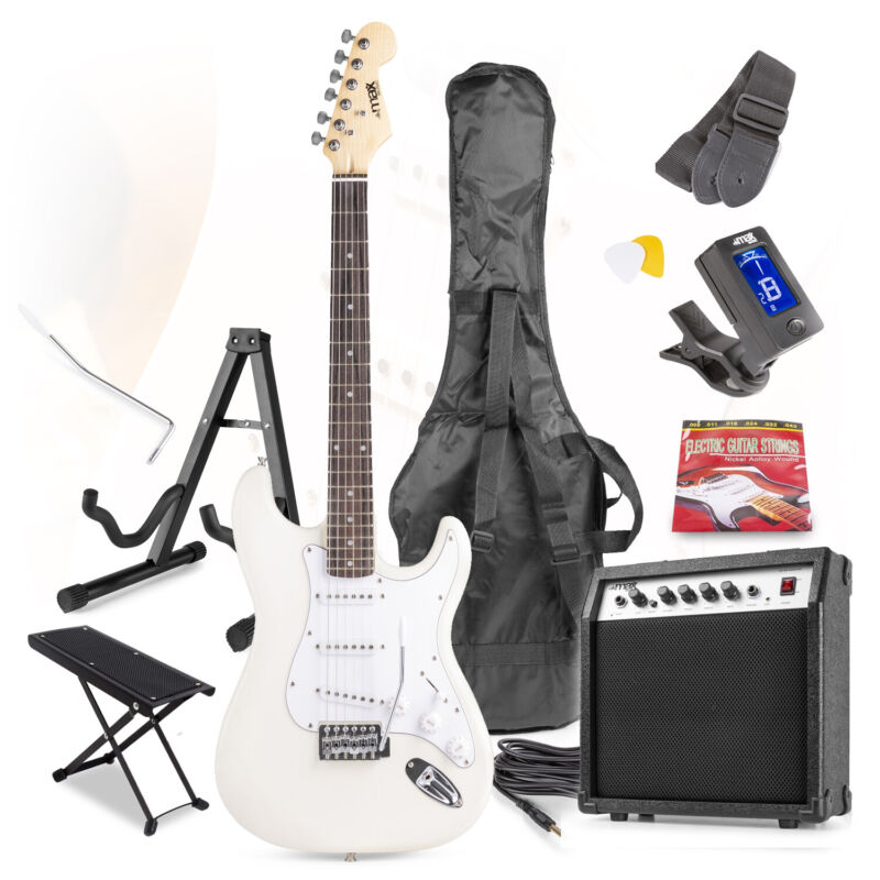 White Full Size Electric Guitar Kit, Amplifier Stand & Beginners Accessories Set