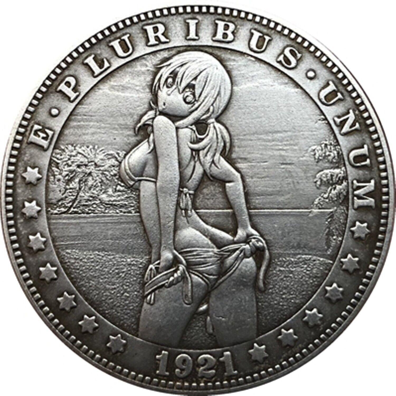 Hobo Nickel  1921-D USA Morgan Dollar Teasing Girl COIN