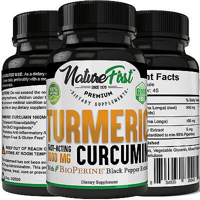 Turmeric Curcumin 1000 mg with Bioperine Anti-Inflammatory,w/ 95% Curcuminoid
