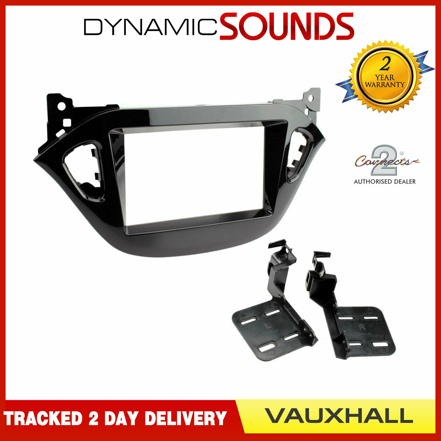 Vauxhall Piano Black Double DIN Radio Stereo Facia Fascia Adaptor Plate Panel