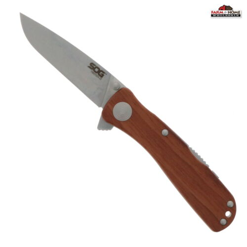 """SOG Folding Knife 2.5"""" Drop Point Blade Rosewood ~ New"""