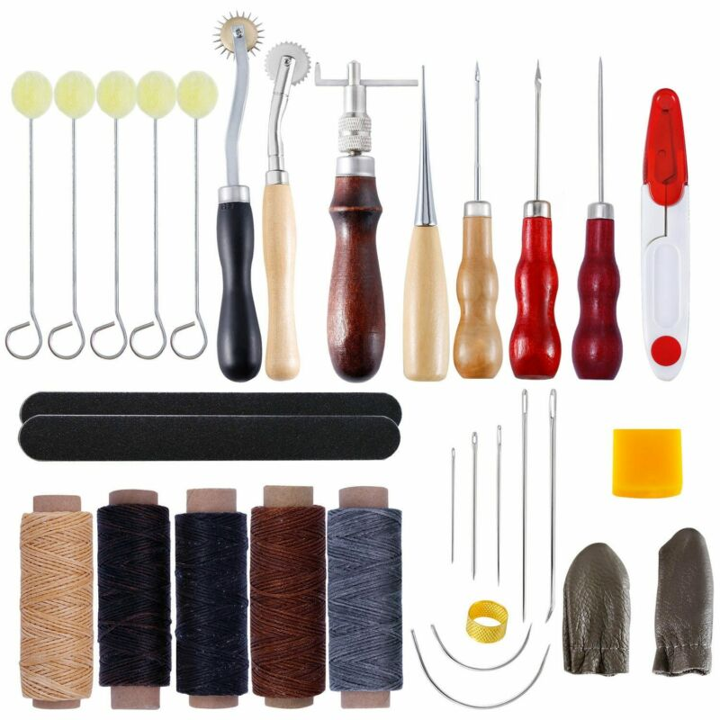 30PCS Leather Craft Hand Sewing Stitching Punch Carving Polishing Tools Thread