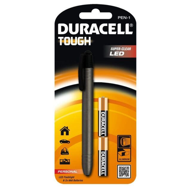 Duracell Tough Rugged Aluminium Pen Torch LED Pocket Purse Bright Light